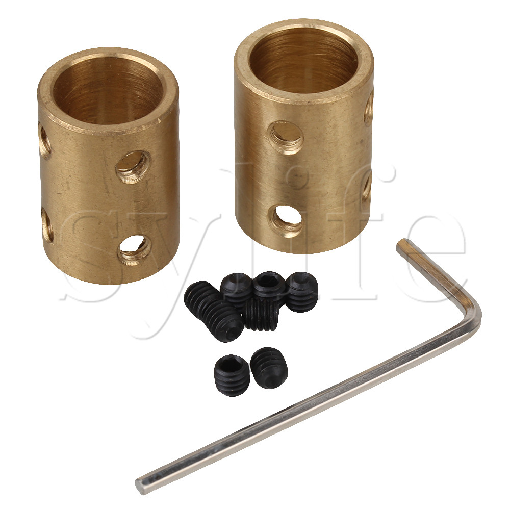 Golden 12 x 12mm Solid Brass Motor Shaft Rigid Coupling for Stepper Motor Ball Screw CNC KIT Router Mill Pack of 2 image