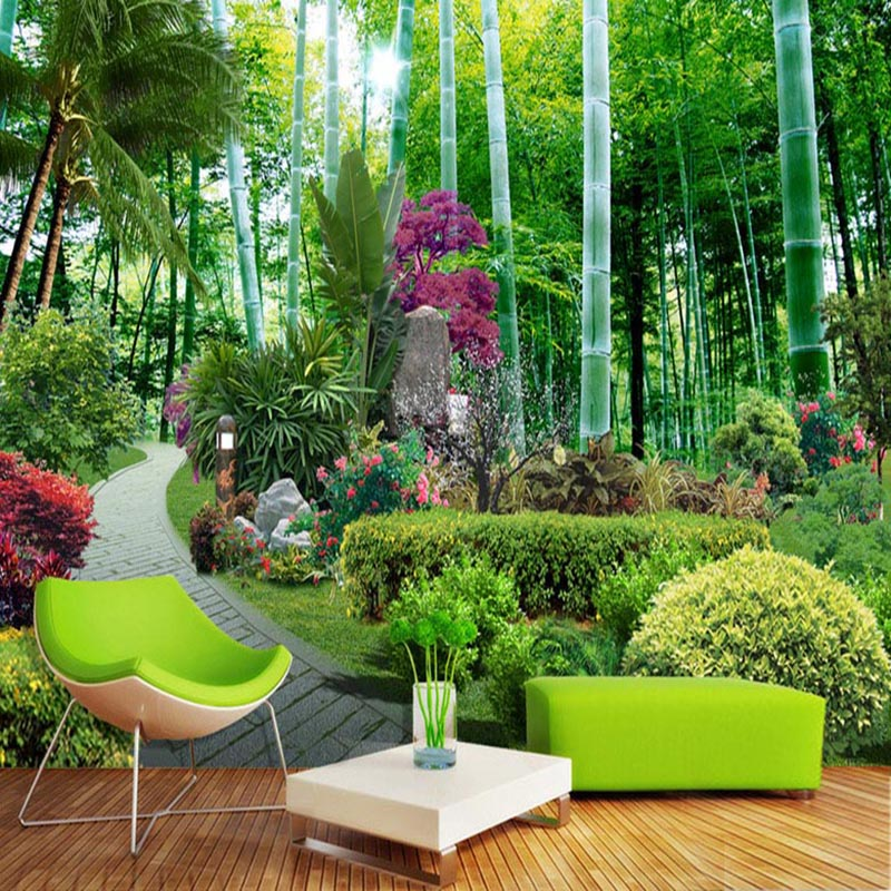 Papel De Parede 3D Paisagem Custom Photo Wallpaper Chinese Style Garden Bamboo Forest Nature 3D Wall Murals Living Room Frescoes