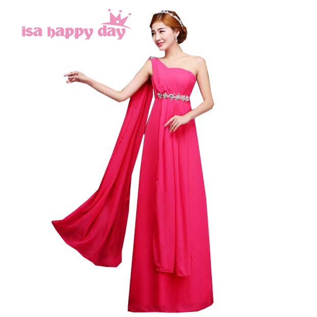 robe de soiree mariage sleeveless one shoulder floor length a line bridesmaid dress hot pink dresses bride maids for girls H1999