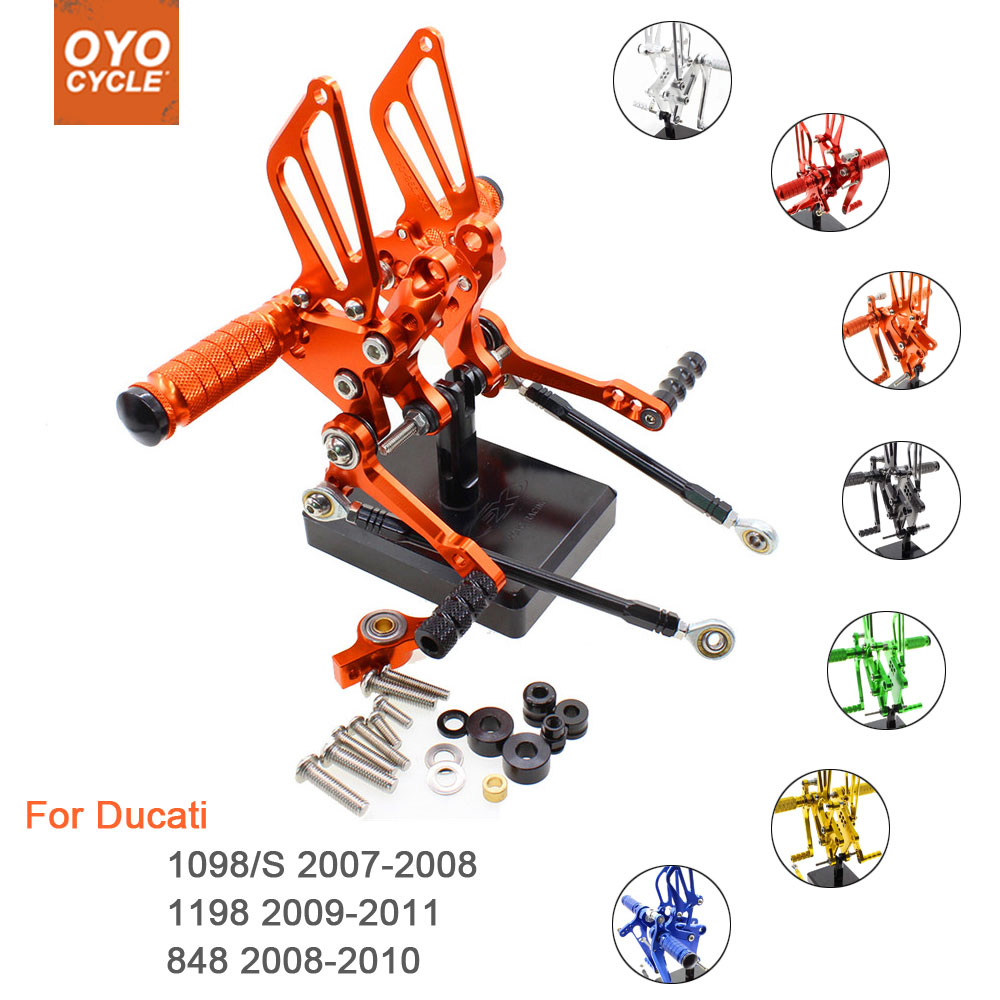 For Ducati 1098/S 1198 848 Motorcycle Rear Set Accessories CNC Adjustable Rearset Foot Pegs 1098 Foot Rests Footpegs