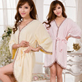 2016 Real Pijamas Hombre Solid O-cuello Pijama Peignoir Homme Hombre Dama de la moda Túnica Liu Qiu Dong Toalla Albornoz En Largo Kimono