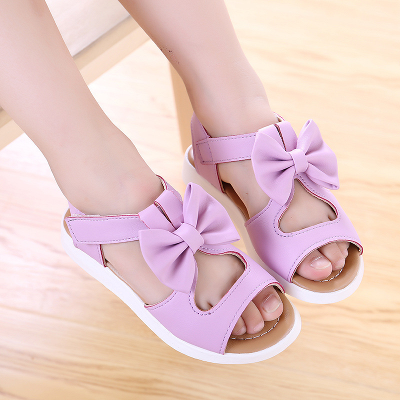 Summer Girls Sandals Solid And Bows Toddler Girl Sandal Baby Girl Beach Shoes Fashion Girls Flat Pricness Shoes