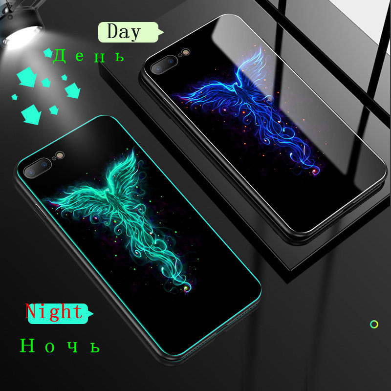 HTB17MtmXOYrK1Rjy0Fdq6ACvVXan Luminous Tempered Glass Case For iPhone 5 5S SE 6 6S 7 8 Plus Case Back Cover For iPhone X XR XS 11 Pro Max Case Cover Cell Bag