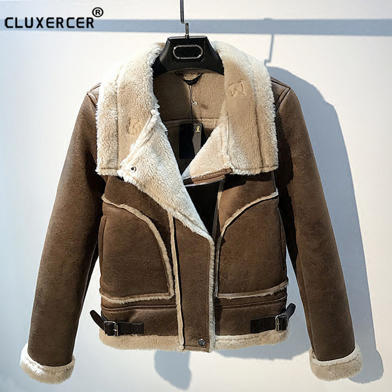 New Winter   Suede     Leather   Jacket Women Short Lamb Wool Motorcycle Jacket Thick Lambs Wool Warm Coat