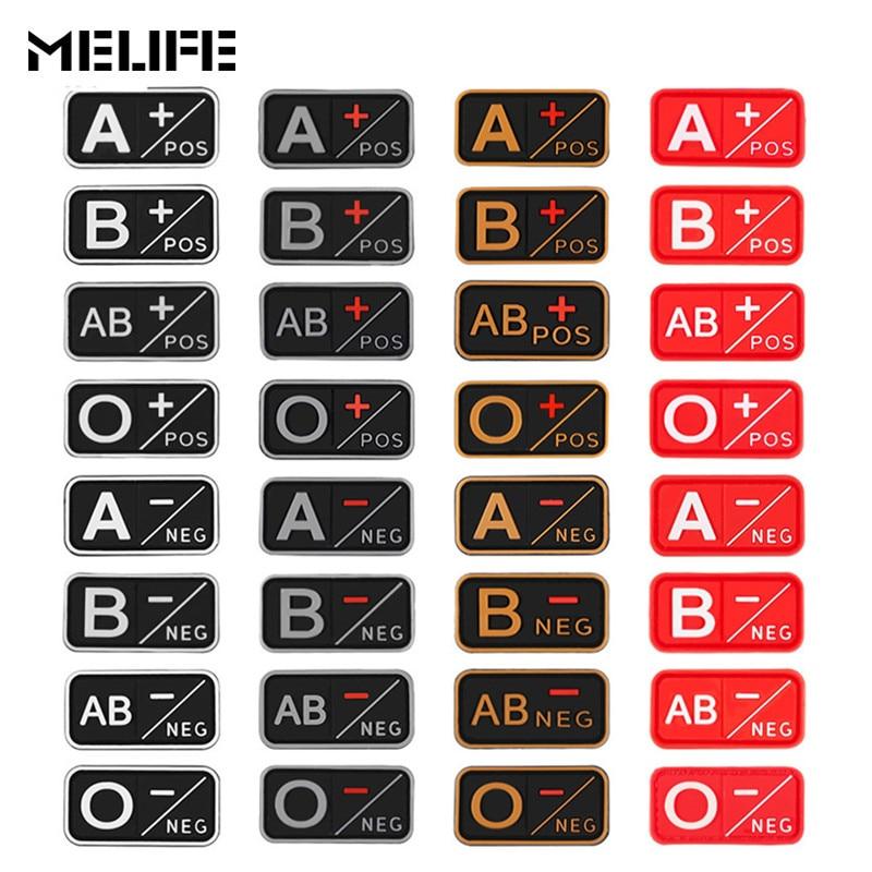 Caccia Accessori Patch di 3D PVC A + B + AB + O + Positivo A-B-AB- O Negative-Sangue Tipo di Gruppo di Patch Tattico Militare badge