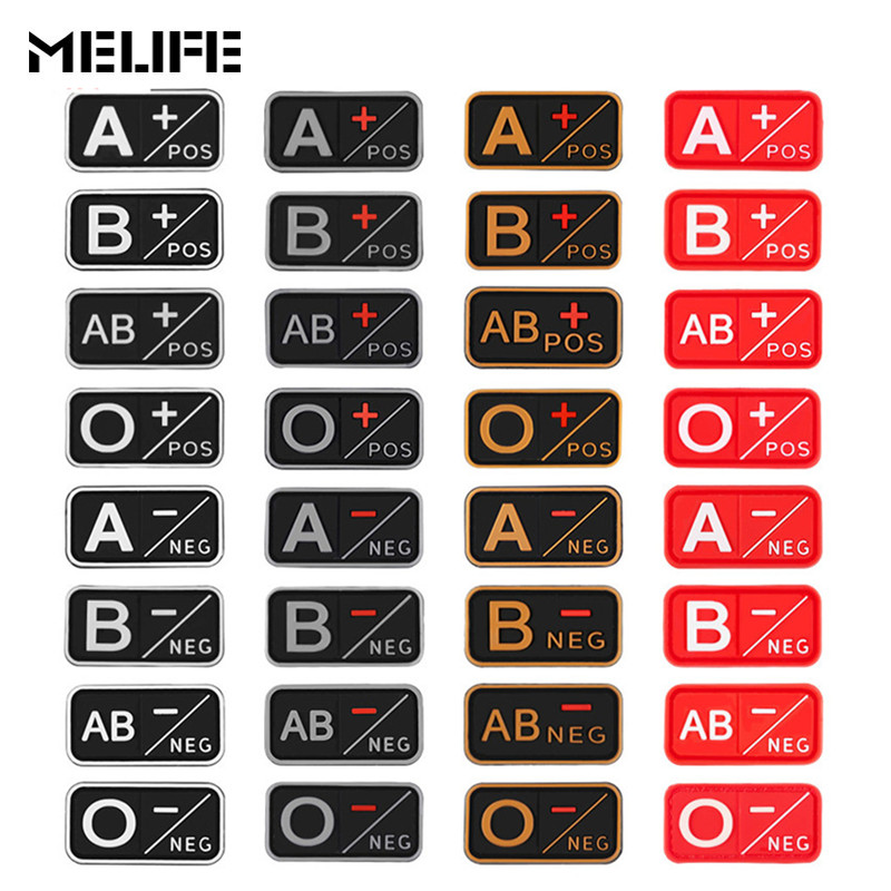 Hunting Accessories Patch 3D PVC A+ B+ AB+ O+ Positive A- B- AB- O- Negative Blood Type Group Patch Military Tactical Badges