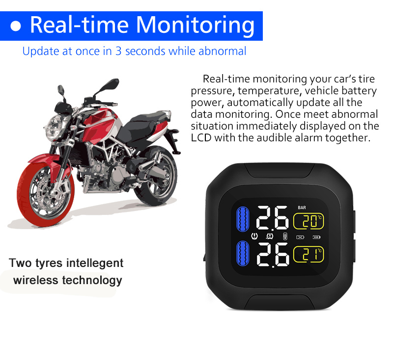 Image 3 - M3 Waterproof Motorcycle Real Time Tire Pressure Monitoring System TPMS Wireless LCD Display Internal or External TH/WI Sensors-in Tire Pressure Alarm from Automobiles & Motorcycles