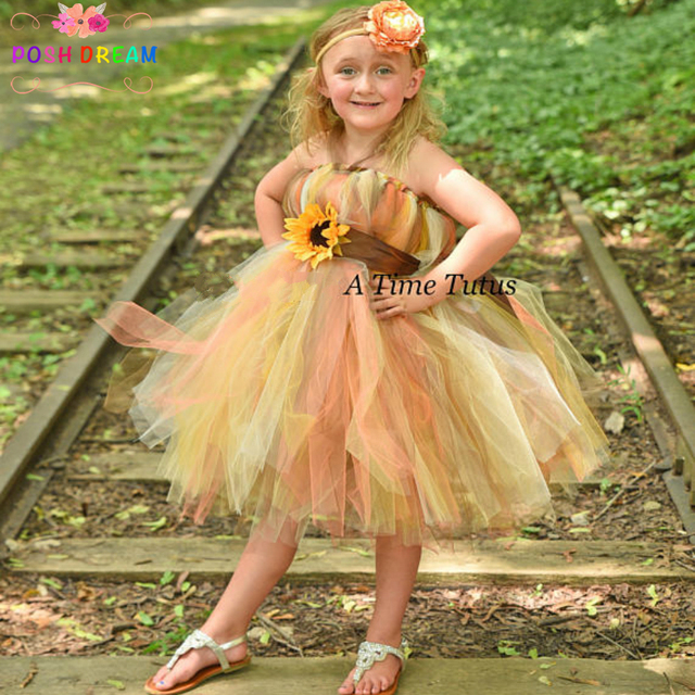 e69b8d73dc9 POSH DREAM Autumn Sunflower Tutu Dress Halloween Costume Baby Girls Flower  Halloween Party Dresses Autumn Pretty Fall ScareCrow