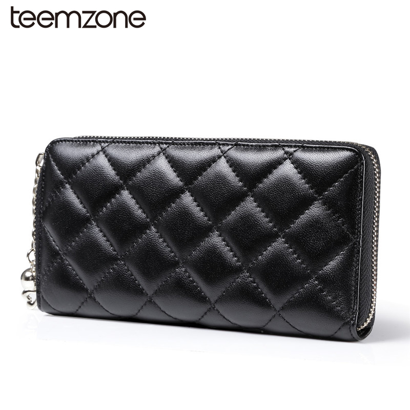 teemzone Soft Leather Square Plaid Womens Genuine Leather Zipper Wallet Credit Card Hold ...