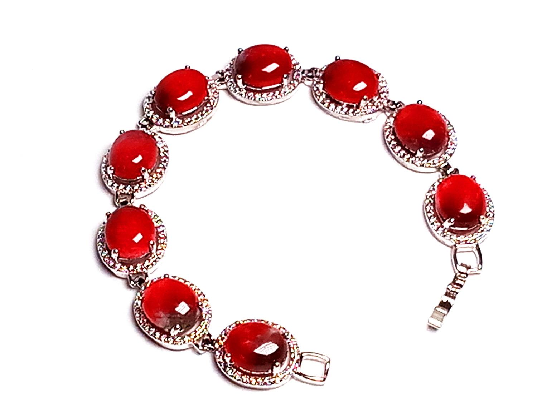 Koraba pêche Jade Design ovale rose naturel gemme chaîne Bracelet accessoires cadeau pour les femmes en gros