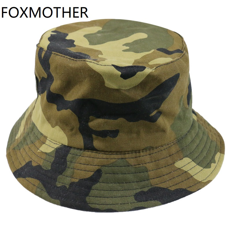 FOXMOTHER New Autumn Fashion Camo Gorras Casquette Army Green Camouflage Fishing Hats Bucket Caps Women Mens