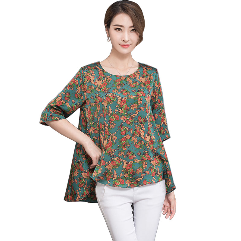 ba72c8a9b29 Plus Size Women Blouses 2018 Summer Three Quarter Sleeve Print Mother Silk  Blouse Shirt Green Flower Blusas Feminina Tops Shirts