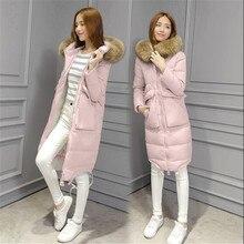 Winter 2017 Fashion Women Thick Casual Warm Down Jacket Hooded Fur collar Medium-long Solid color Loose Big yards Warm CoatG0296