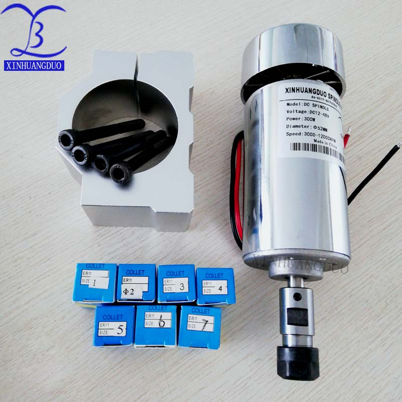 Air cooled 300W DC spindle motor 12 48VDC ER11 3 175mm 52mm mounting bracket fixture ER11