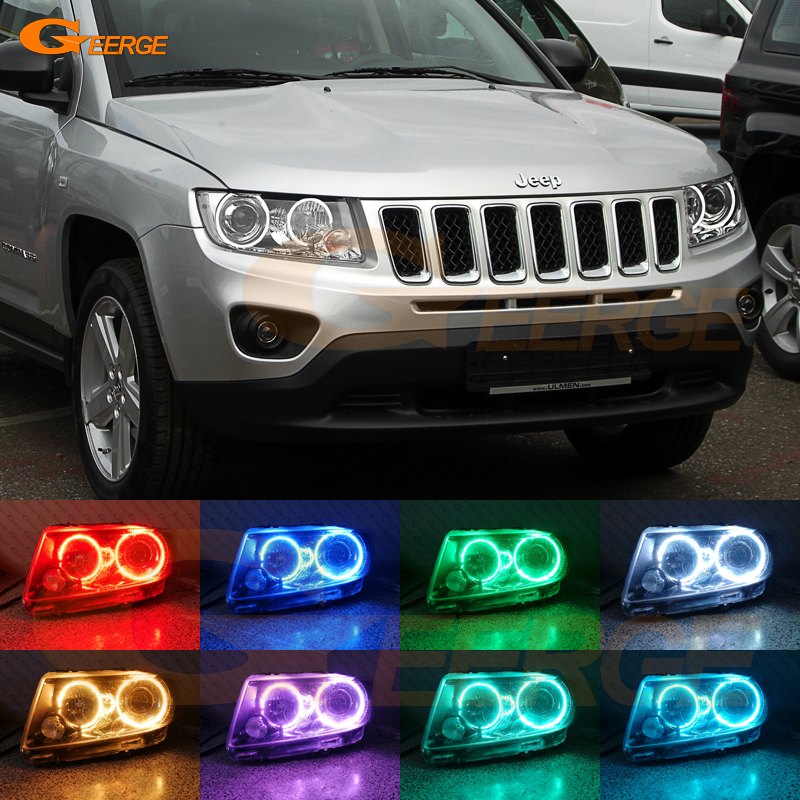 For JEEP COMPASS 2011 2012 2013 2014 2015 2016 Xenon headlight Excellent Multi-Color Ultra bright RGB LED Angel Eyes kit