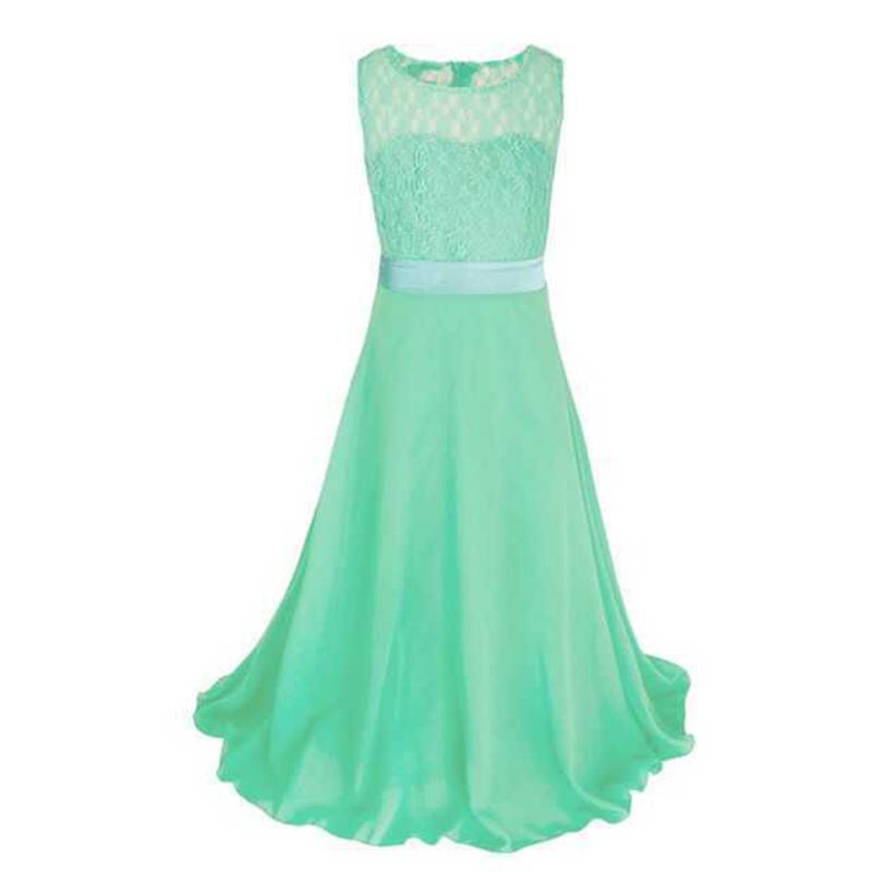 Summer Girls Dress Chiffon Sleeveless Infant Long Dress O Neck Girl Wedding Dresses Lace Kids Party Clothes Children Clothing (7)