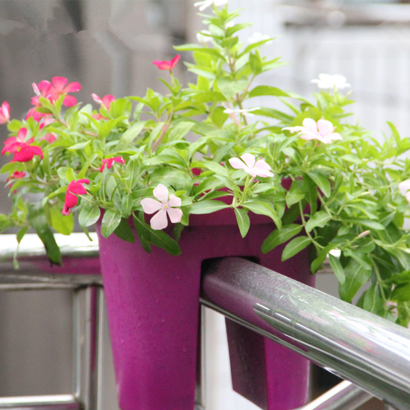 POCKETGARDEN 2PCS Balcony terrace with a special creative green plastic flower pots and pots of high-grade Plastic raw material