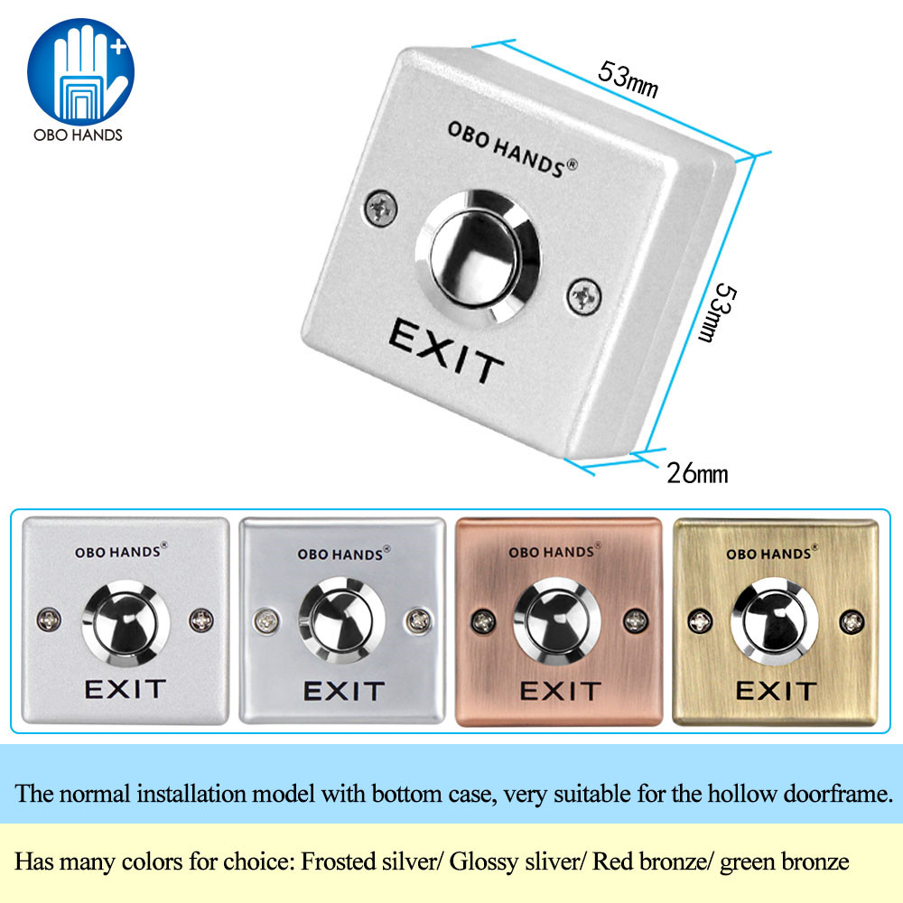 OBO Stainless Steel Door Exit Release Push Button Home Switch Panel Part Of Access Control System Four Colors Used To Open Door