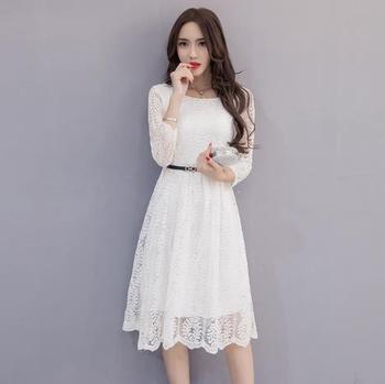 Clobee Lace Elegant A Line Women Dress Sashes Full Sleeve Long Ladies Dresses 2017 Korean Style Work Office Femme Vestidos  Z634 conjuntos casuales para niñas