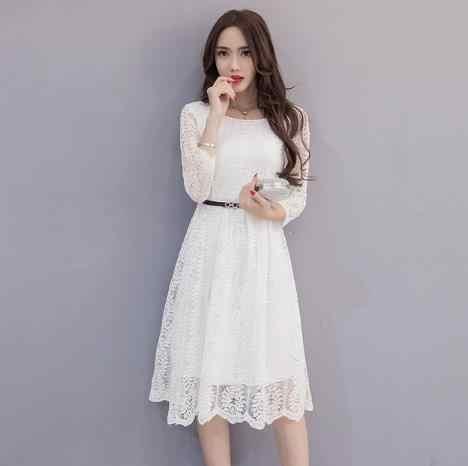 6358c453a2 Clobee Lace Elegant A Line Women Dress Sashes Full Sleeve Long ...