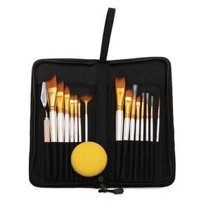 Image 2 - Pintura conjunto de arte 15 pçs escova de pintura de cabelo de náilon & transportando preto caso paleta faca e esponja para desenho a óleo acrílico aquarelas
