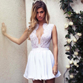 robe de cocktail White Sexy Women Special Occasion Chiffon Lace Applique Formal Dress Deep V Neck Short Cocktail Dresses 2016