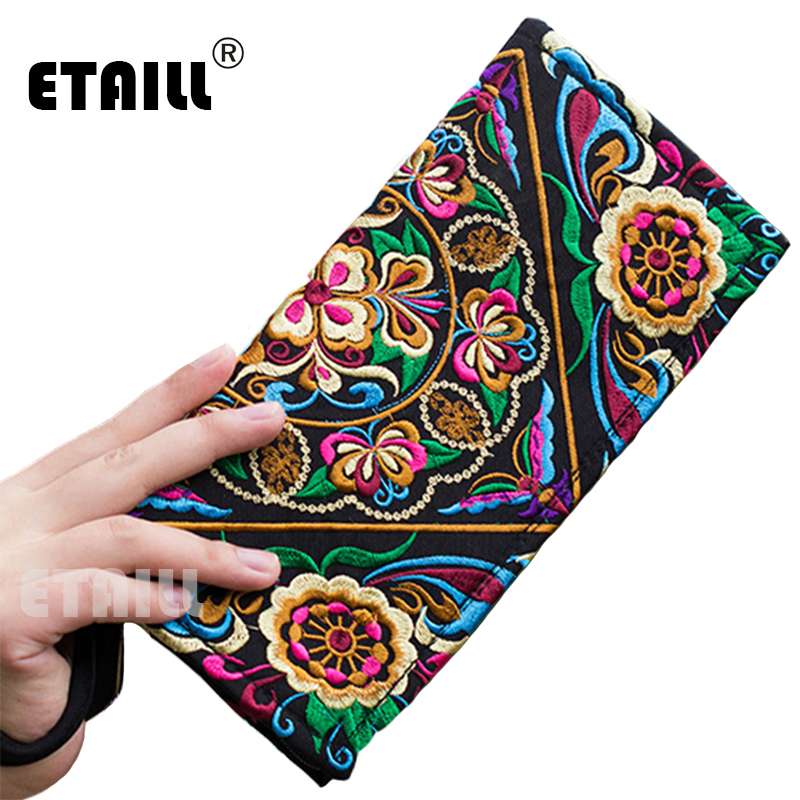 Vintage Flower Ethnic Boho Ladies Hand Embroidered Clutch Wallets Purse Designer Famous Brand Logo Clutch Women Sac a Dos Femme yunnan hmong vintage ethnic embroidered boho indian floral embroidery thailand famous brand logo bag and handbag sac a dos femme