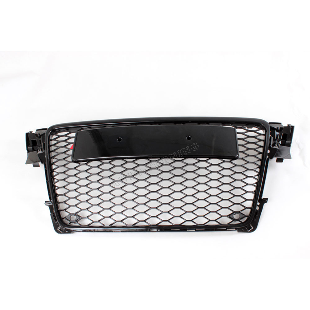 09 12 A4 Black Painted ABS Front Bumper Honey mesh Grill Grille With Parking Sensors for