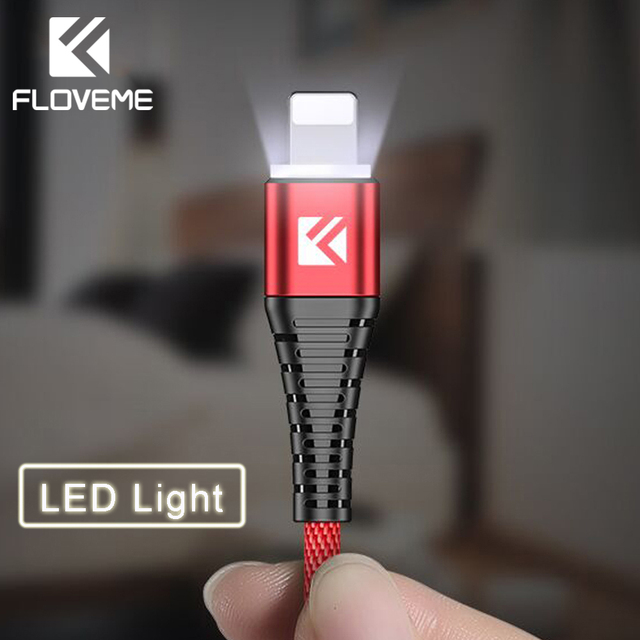 FLOVEME 1M LED Lighting Cable For iPhone XR XS Max 7 8 Charger Cable For Lightning Hi-Tensile Data Transfer Phone Charging Cable