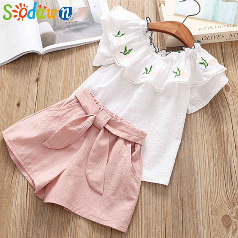 Sodawn New Children Wear 2018 Summer Girl Lotus Leaf Pineapple Embroidered T-Shirt + Shorts 2pcs Girl Clothes Set Kids Clothing 2pcs children outfit clothes kids baby girl off shoulder cotton ruffled sleeve tops striped t shirt blue denim jeans sunsuit set