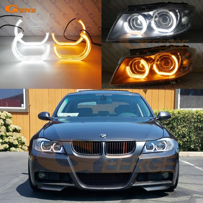 For BMW 3 Series E90 E91 2006 2007 2008 Xenon headlight DTM M4 Style LED Angel Eye Kit Dual White Amber switchback