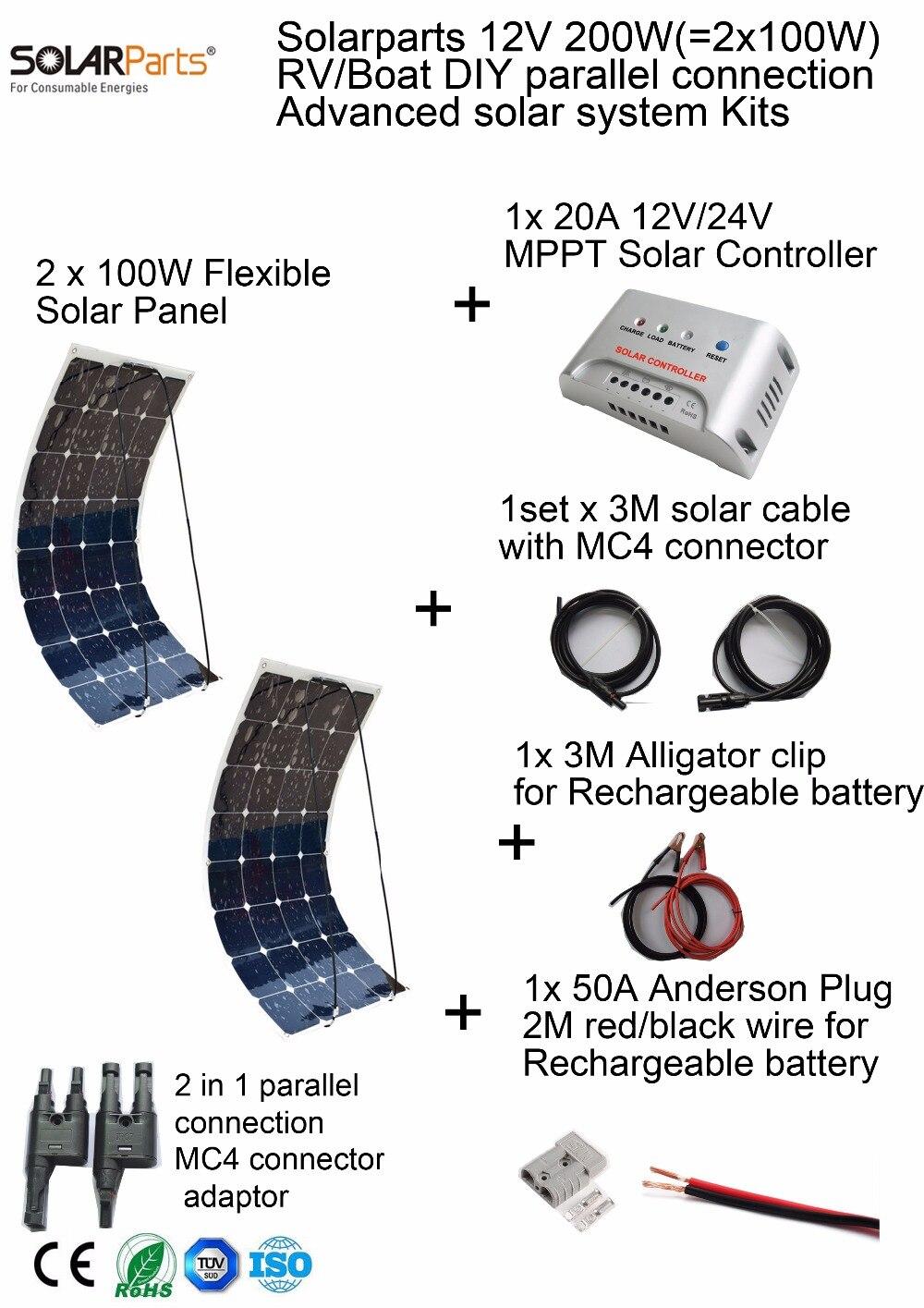 Solarparts 200 W DIY RV/Marine Kit Sistema Solare 2x100 W flessibile pannello solare 12 V, 1x 20A MPPT regolatore solare set cavi a buon mercato.