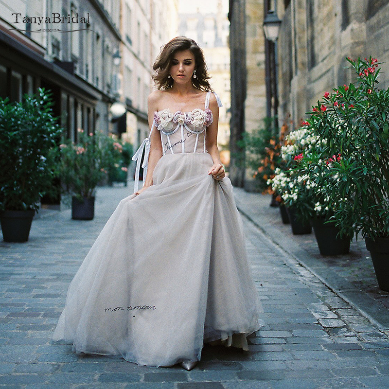 Nude Champagne Fairy Wedding Dresses Boho Flowers Bridal Dresses Sexy Vestido De Noivas Beach Summer DW133
