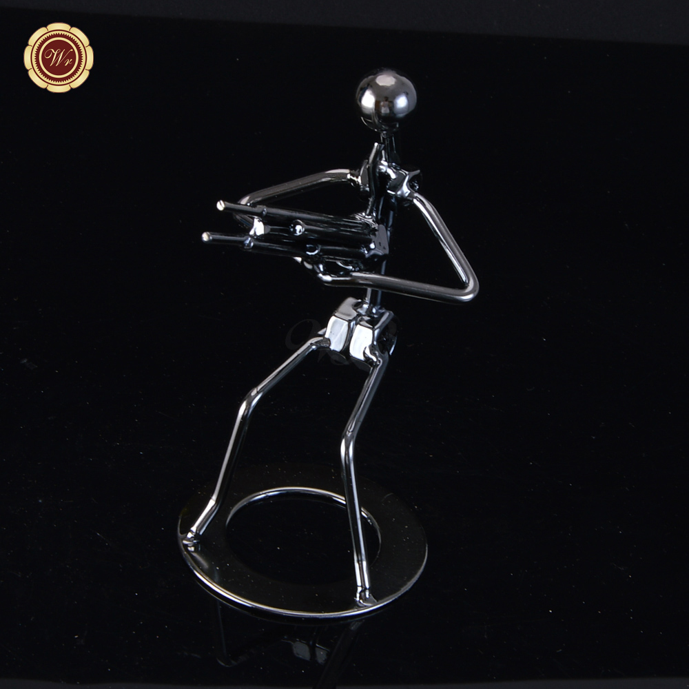 Luxury Home Decoration Metal Sitting Musician Playing Reed pPipe Wind Instrument Figur Free Shipping