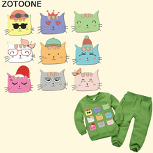 ZOTOONE Cartoon Cat Patch Heat Transfer Patches Vinyl Sticker Thermal Animal for Baby Clothes DIY Washable A-Level