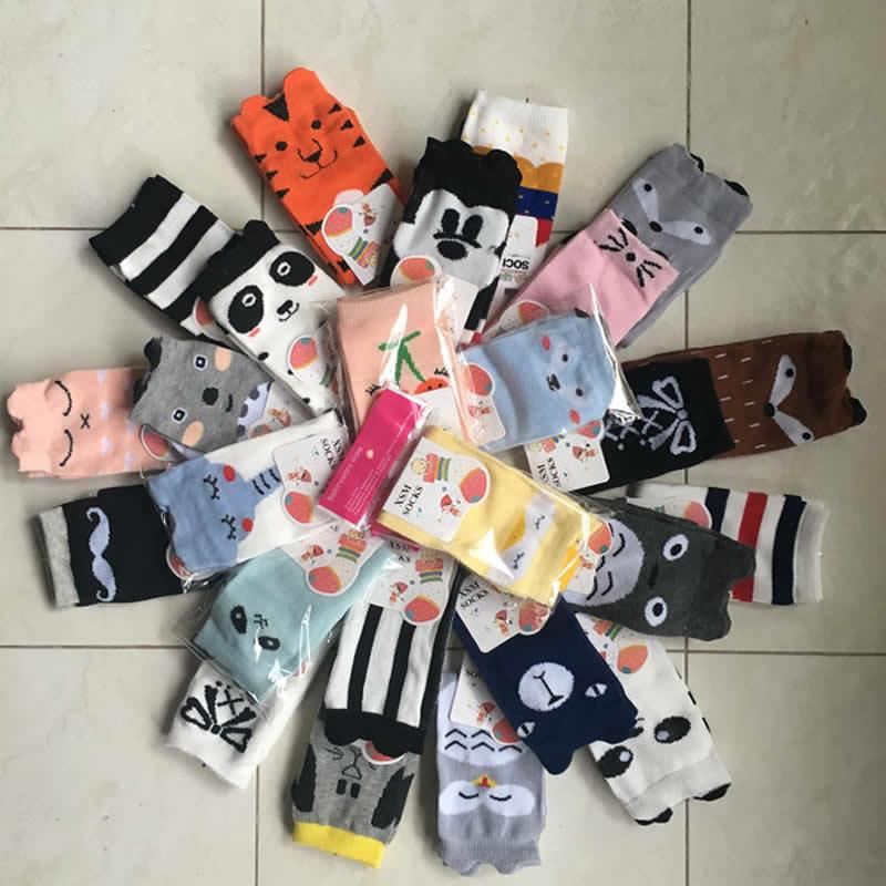 Children's Socks Wholesale Infant Kids Knee High Girl Cartoon Duck Bear Print Toddler Baby Socks Cotton Knee High Short Socks