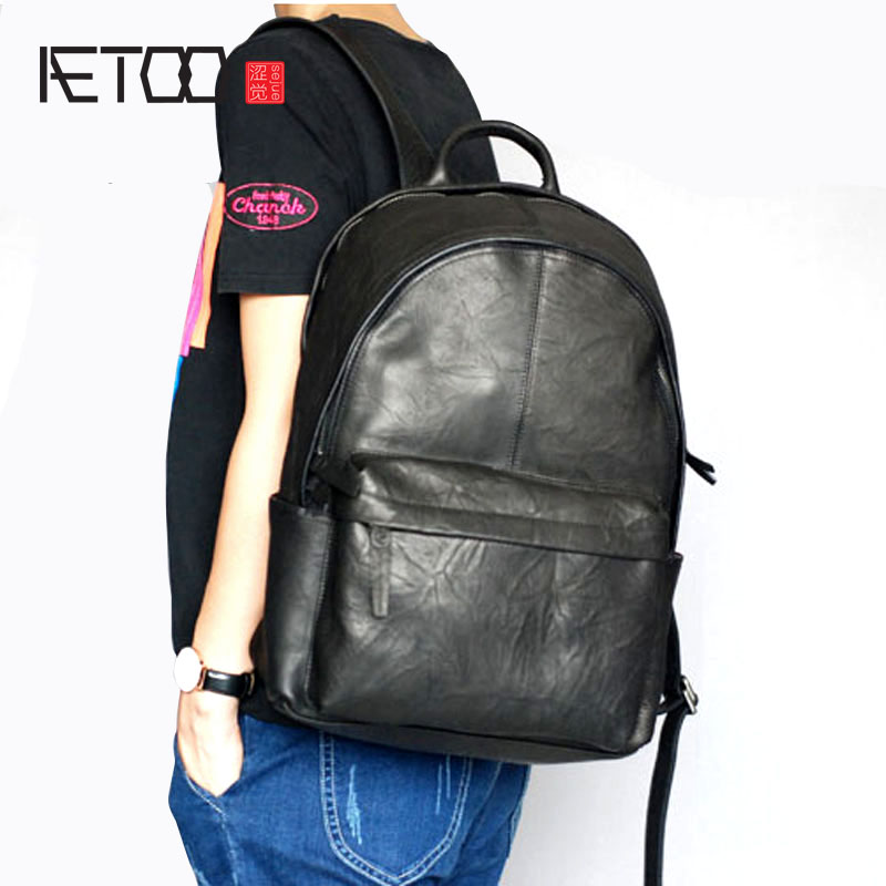 AETOO Genuine Leather Backpack Men High Quality Leather Travel Backpacks Man Vintage Big Casual School Shoulder Bags Rucksack swdvogan new travel backpack korean women rucksack pocket genuine leather men shoulder bags student school bag soft backpacks