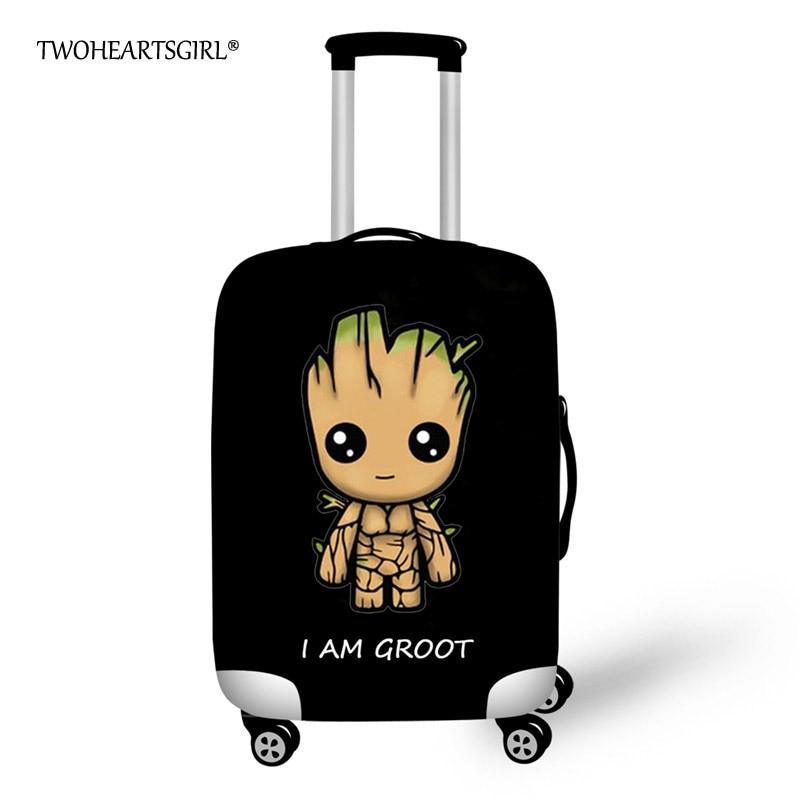 Twoheartsgirl Black Cartoon Groot Travel Luggage Cover Elastic Waterproof Suitcase Cover 18/20/22/24/26/28 Travel Accessories