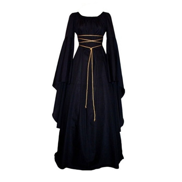 f186bffab3d Fashion Bandage Long Dress Women Lady Peasant Dresses Medieval Renaissance  Vintage Long Sleeve Girl Dress