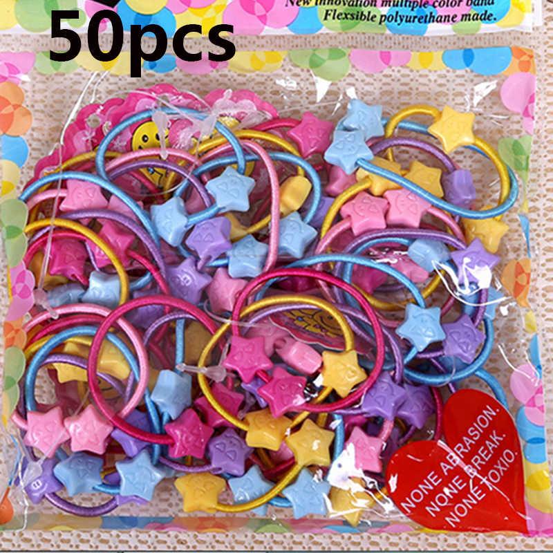50 cái/túi Ban Nhạc Cao Su Tie Kẹo Cao Su Bé Con Trẻ Em Phim Hoạt Hình Nhỏ Gấu Hoa Thỏ Sao Ponytail Holders Phụ Kiện Tóc Cô Gái