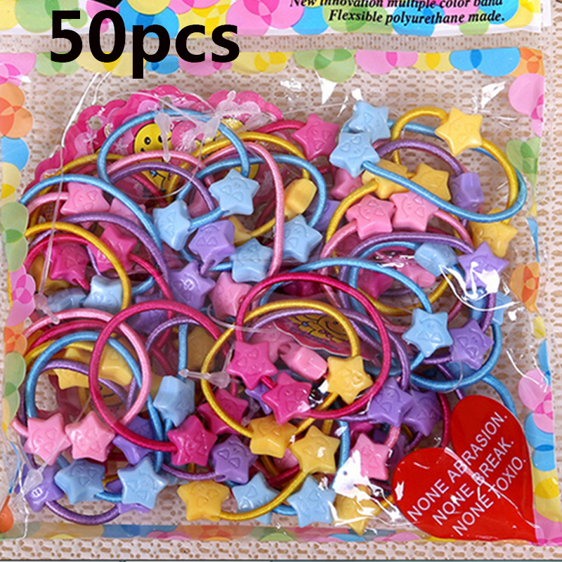 50pcs/bag Rubber Band Tie Gum Child Baby Kids Small Cartoon Bears Flowers Rabbit Star Ponytail Holders Hair Accessories  Girl