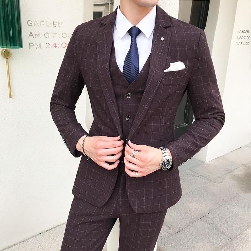 5xl Hommes Robe Blazers Fit Formelle veste Usure Luxe Green D'affaires Slim dark Costume Gilet Parti Purple Costumes Masculin s De Mariage Pour Pantalon Red nvv8TU