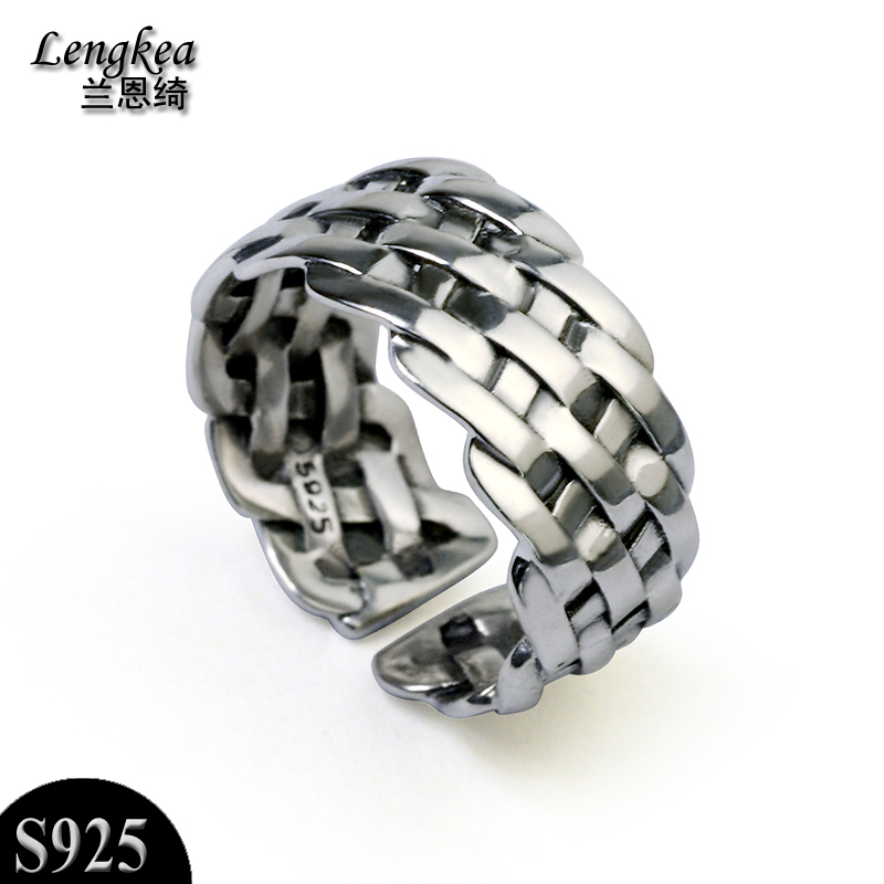 Free shipping,925 silver ring male/female personality knitted ...
