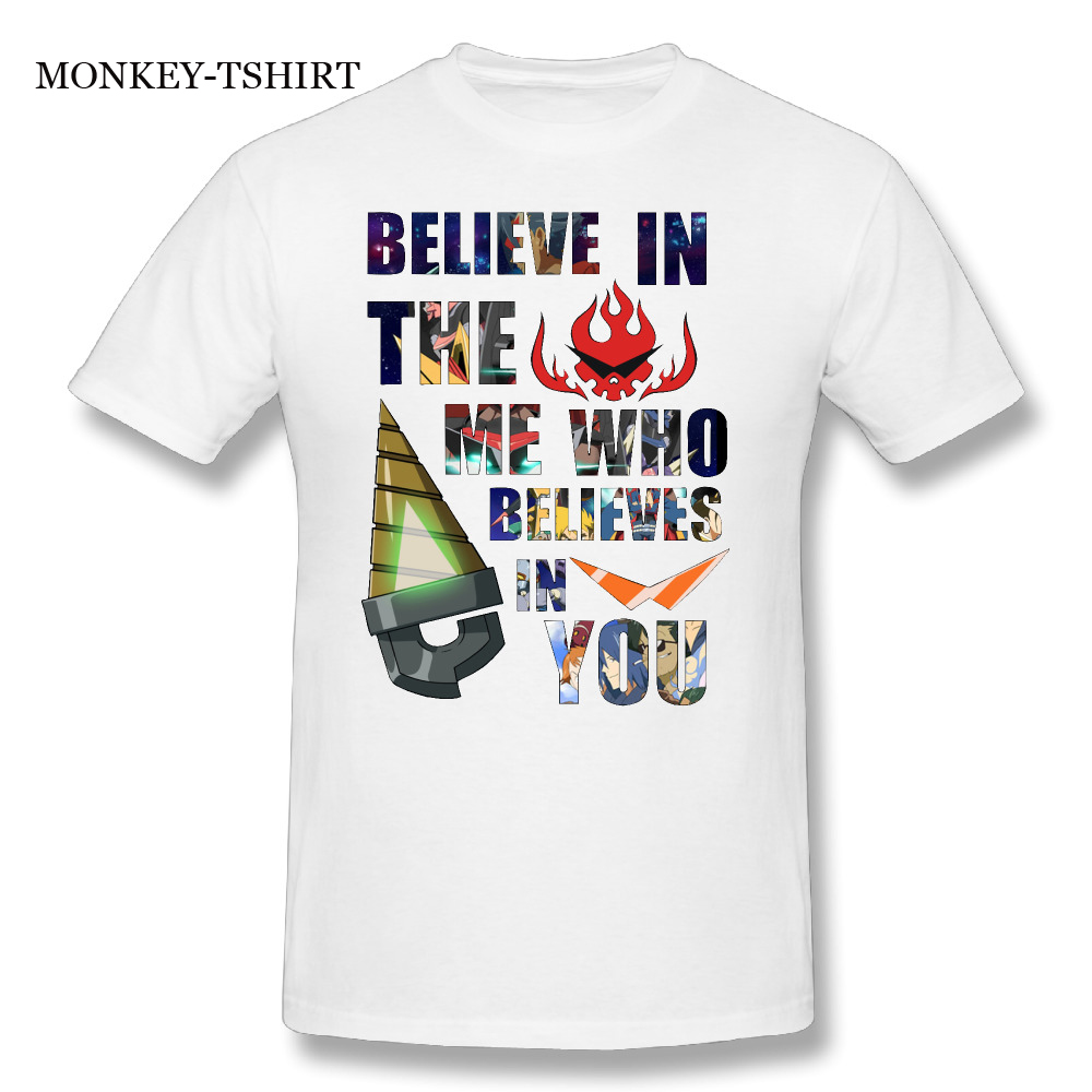 GILDAN Mens Big Size T-Shirts Short Sleeve Gurren Lagann Kamina Quote Believe in the Me Who Believes in You T shirt