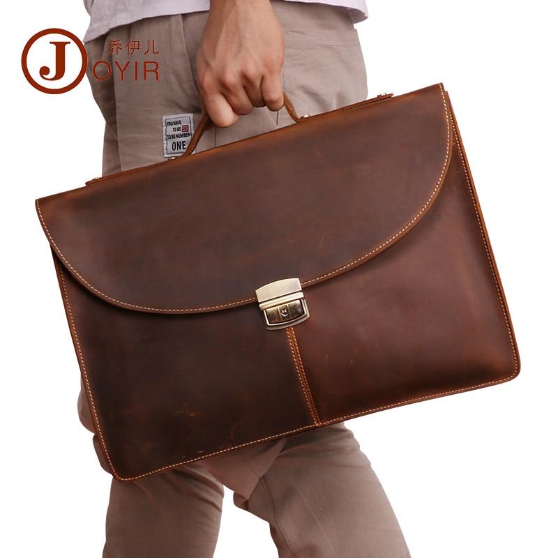 цена на Genuine Leather Men Bag Business Briefcase Messenger Handbags high quality Natural Crazy horse leather Men's Travel Laptop Bag