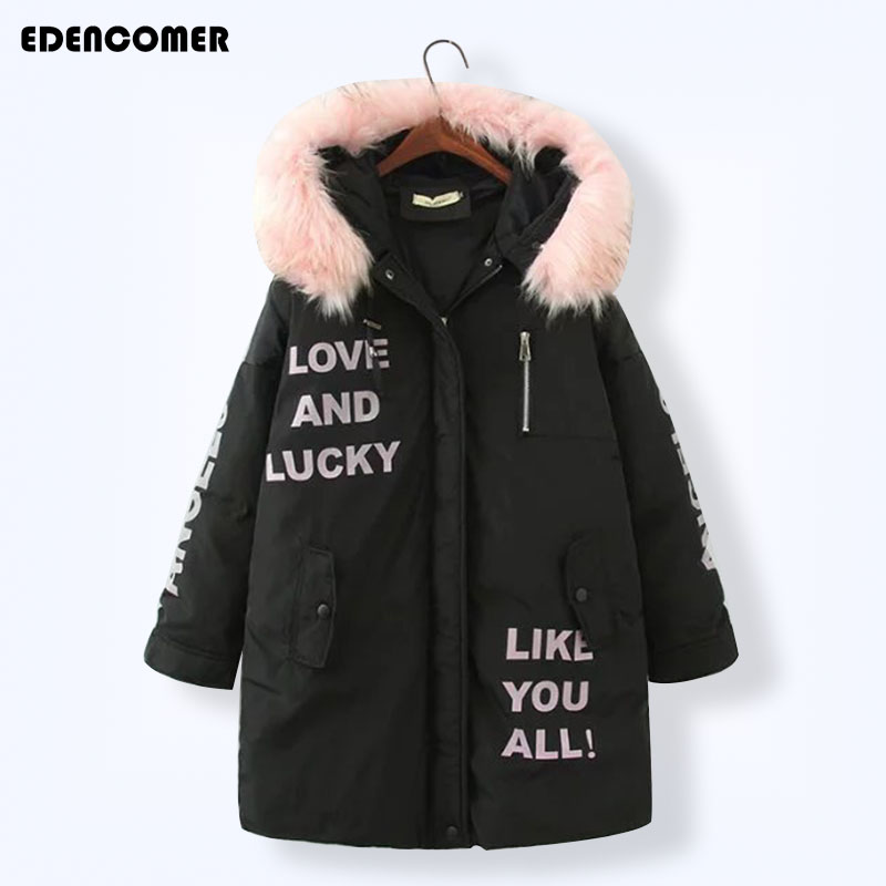 Plus Size 2017 Winter New Women Cotton Parkas Korean Long Fur Collar Hooded Down Jacket Black Letter 5XL Large Code Female Coat цены онлайн