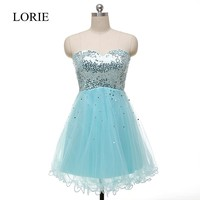 Sparkly Light Blue Short Prom Dresses 2016 Real Picture Sweetheart Sequins Beaded Cheap Robe De Soiree