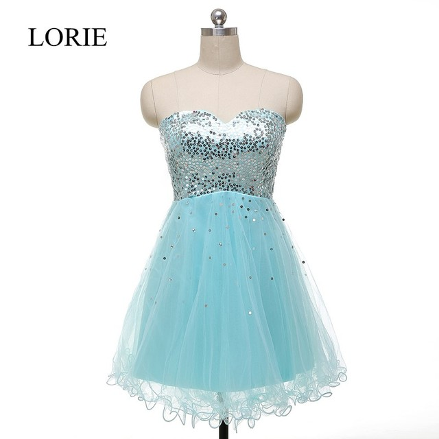 Sparkly Light Blue Short Prom Dresses 2016 Real Picture Sweetheart ...