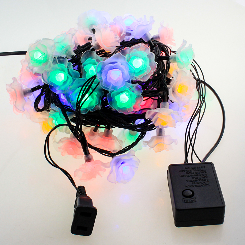 Rose 10M 80 LED Flower light fairy string christmas home Wedding garland decoration part ...