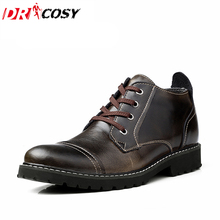 Fashion British Classic Genuine Leather Men Boots Men Oxfords Martin Shoes Winter Warm Fur Casual Ankle Boots Waterproof Botas